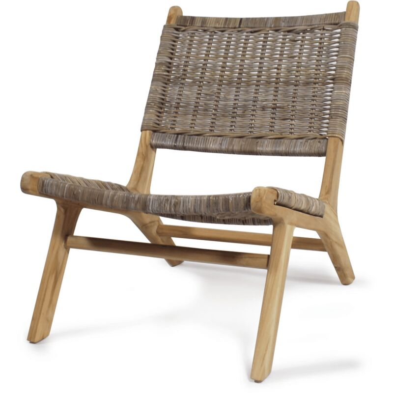 Made In Meubles - Fauteuil plage en bois de teck et rotin - Bois