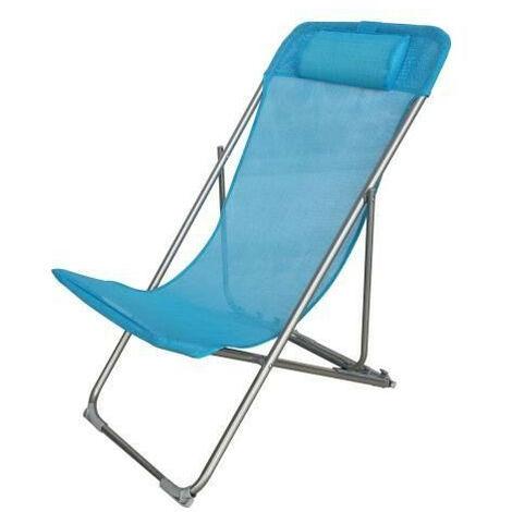 Fauteuil relax avec tetiere - Structure en acier et textilene - 3 positions - 57 x 56 x 74 cm - Bleu