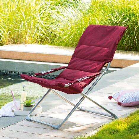 Fauteuil relax de jardin pliable Milos - 3 Positions - Taupe - Taupe