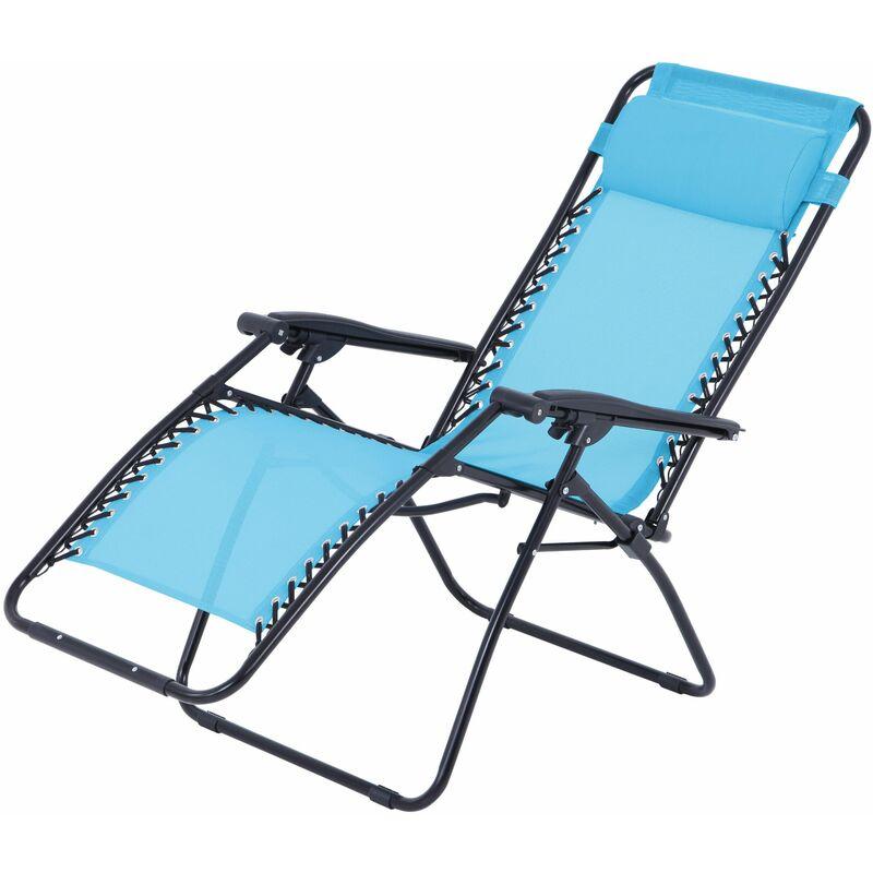 Fauteuil relax multi positions Bleu - Structure Pliable