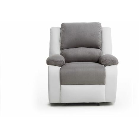 Fauteuil Relaxation 1 place Microfibre / Simili DETENTE - Blanc / Gris - Blanc / Gris