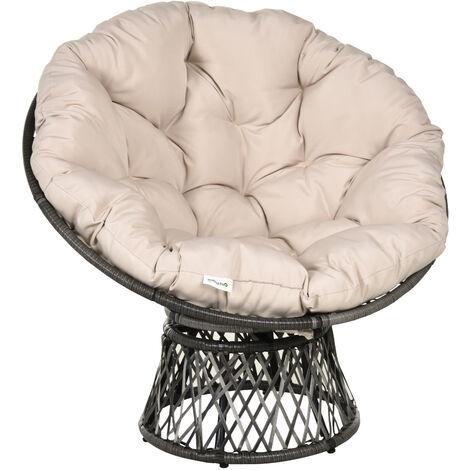 Fauteuil rond de jardin fauteuil papasan pivotant grand confort Ø 97 x 90H cm grand coussin fourni polyester résine tressée crème