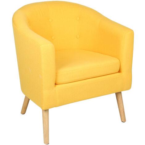 Fauteuil scandinave \Chaise de canapé en lin 64*60*70cm - jaune - Jaune