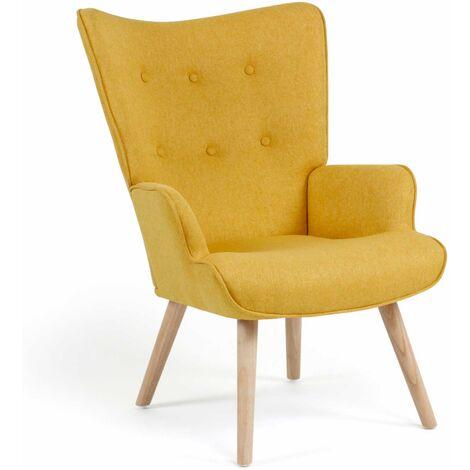 Fauteuil scandinave Ivar en tissu jaune