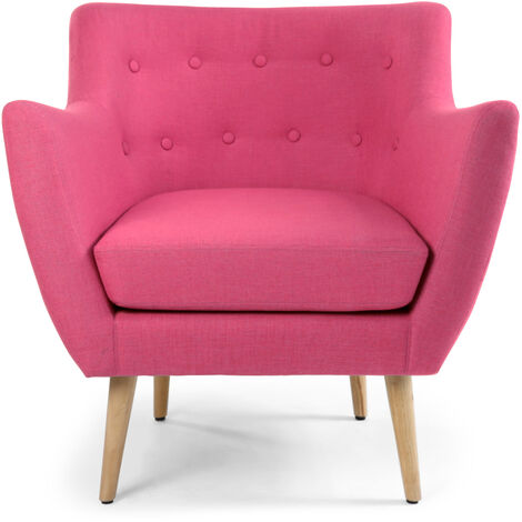 Fauteuil scandinave Molly Tissu Rose - Rose