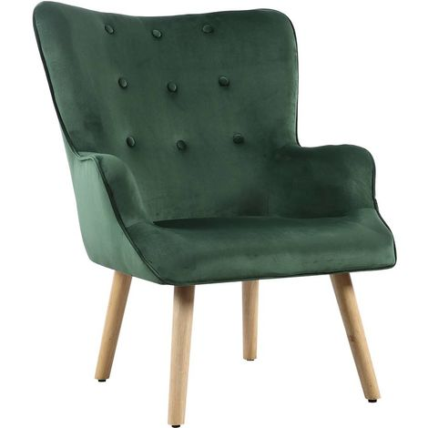"""Fauteuil style scandinave velours """"Odense"""" - 73 x 81 x 92.5 cm - 1 place - Vert"""