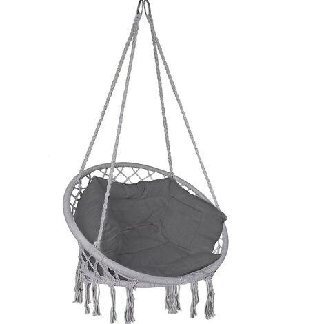 Fauteuil suspendu avec coussin gris