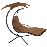 Fauteuil Suspendu avec Pare-Soleil et Support en Acier 195 cm x 118 cm x 202 cm Marron