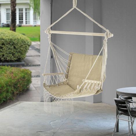 Fauteuil Suspendu Chaise de Hamac à Franges Jusqu'à 150 kg avec Accoudoirs en Bois 120 x 100 x 65 cm Beige