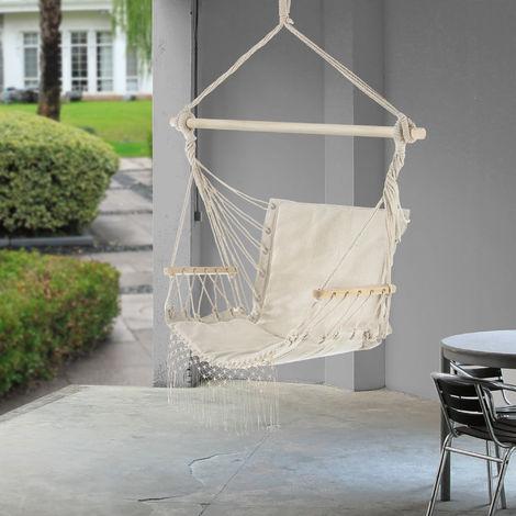 Fauteuil Suspendu Chaise de Hamac à Franges Jusqu'à 150 kg avec Accoudoirs en Bois 120 x 100 x 65 cm Crème