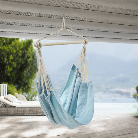 Fauteuil Suspendu Chaise de Hamac Rotatif à 360° Jusqu'à 150 kg pour Intérieur et Extérieur Bleu Clair Pastel