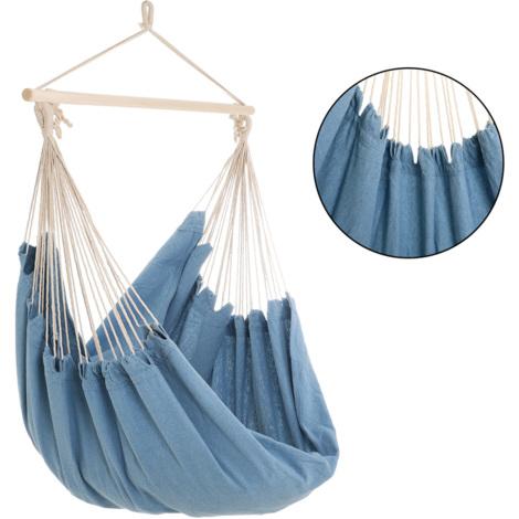 Fauteuil suspendu - Chaise suspendue - Siège Hamac - 185x130x155cm - Bleu clair