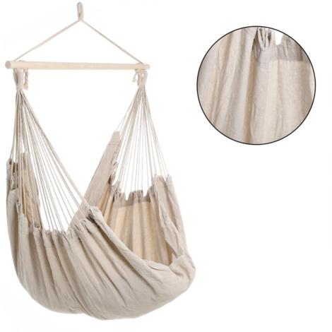 Fauteuil suspendu - Chaise suspendue - Siège hamac 185x130x155cm - Couleur crème