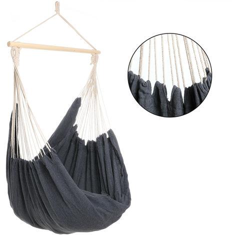 Fauteuil suspendu - Chaise suspendue - Siège hamac - 185x130x155cm - Gris