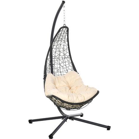 Fauteuil suspendu de jardin - chaise hamac résine tressée avec matelas grand confort crème support acier époxy gris