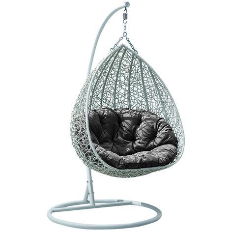 Fauteuil suspendu de jardin en résine tressée gris clair