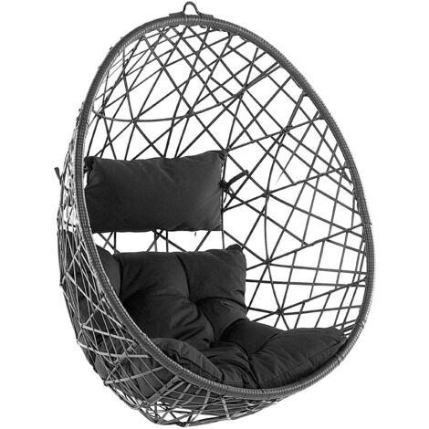 "main image of ""Fauteuil suspendu en rotin noir ø 94 cm ALATRI"""