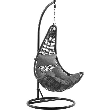 Fauteuil suspendu en rotin noir avec support ATRI