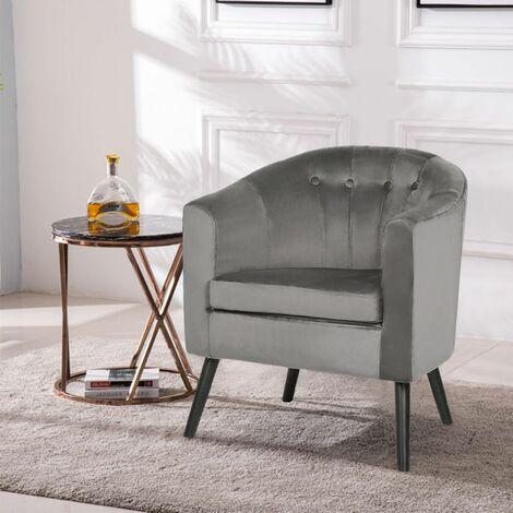 Fauteuil - Velours gris - Classique - L 70 x P 64 cm