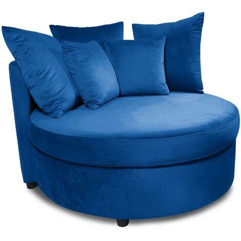Fauteuil XXL Musso Velours Bleu - Bleu