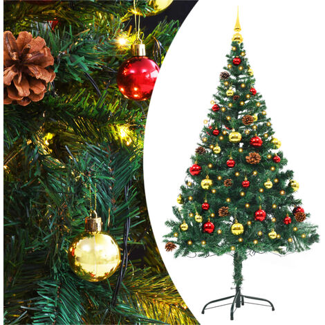 Faux Christmas Tree Decorated with Baubles and LEDs 150cm Green - Green