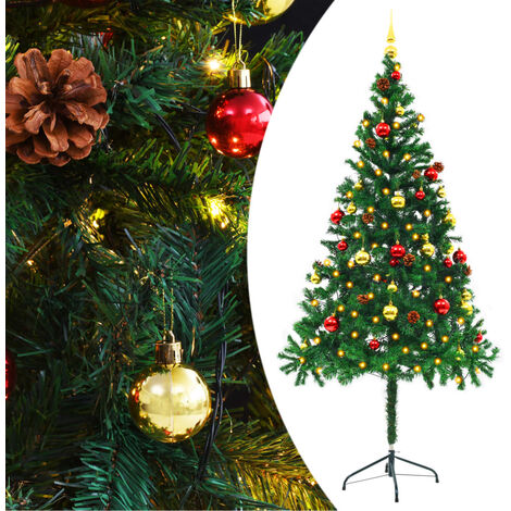 Faux Christmas Tree Decorated with Baubles and LEDs 180cm Green - Green