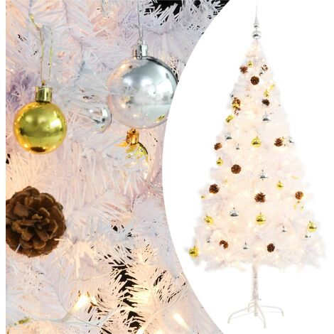 Faux Christmas Tree Decorated with Baubles and LEDs 180cm White - White