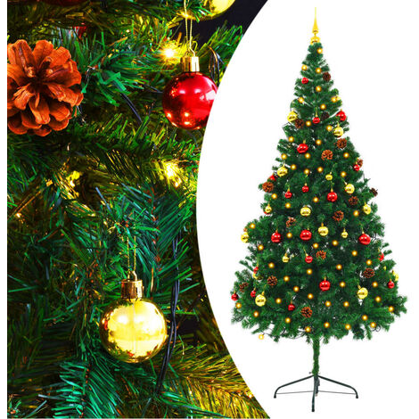 Faux Christmas Tree Decorated with Baubles and LEDs 210cm Green