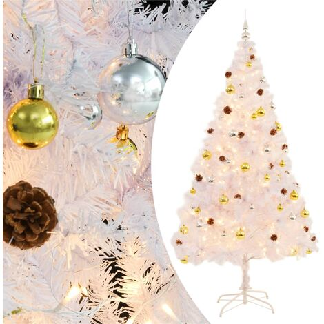 Faux Christmas Tree Decorated with Baubles and LEDs 210cm White - White