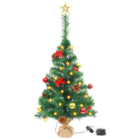 Faux Christmas Tree Decorated with Baubles and LEDs 64cm Green
