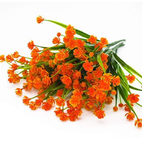 Faux fleurs artificielles, 4 paquets de plantes d'arbustes de verdure résistants aux UV en plein air