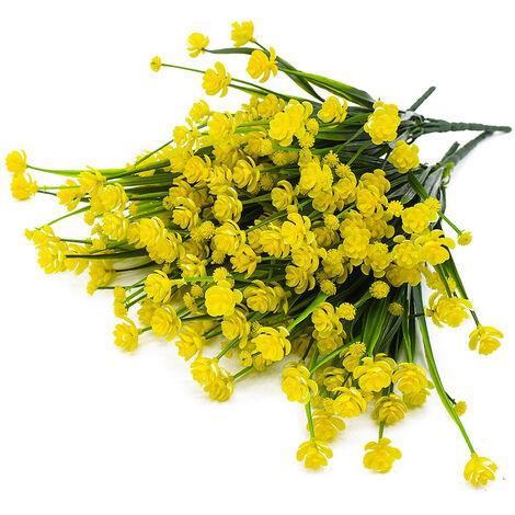 Faux fleurs artificielles, 4 paquets de plantes d'arbustes de verdure résistants aux UV en plein air intérieur extérieur jardinière suspendue décor de jardin à la maison