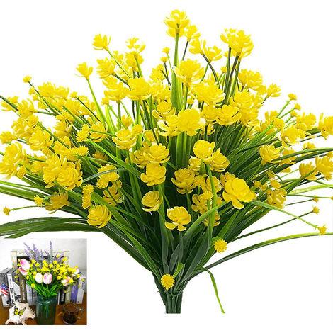 Faux fleurs artificielles, 4 paquets de plantes d'arbustes de verdure résistants aux UV en plein air, jardinière suspendue extérieure intérieure, décoration de jardin