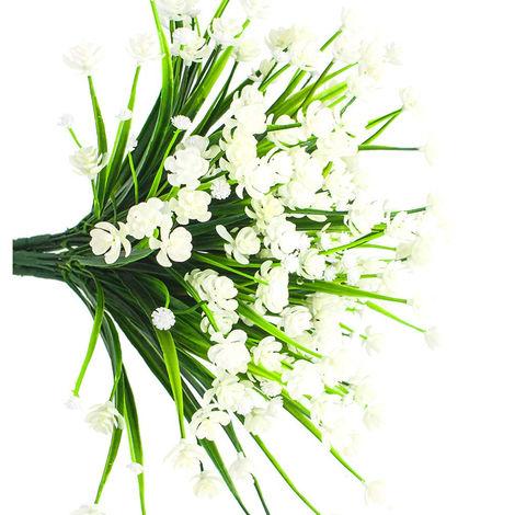 Faux fleurs artificielles, 4 paquets de plantes d'arbustes de verdure résistants aux UV en plein air, jardinière suspendue extérieure intérieure, décoration de jardin (blanc)