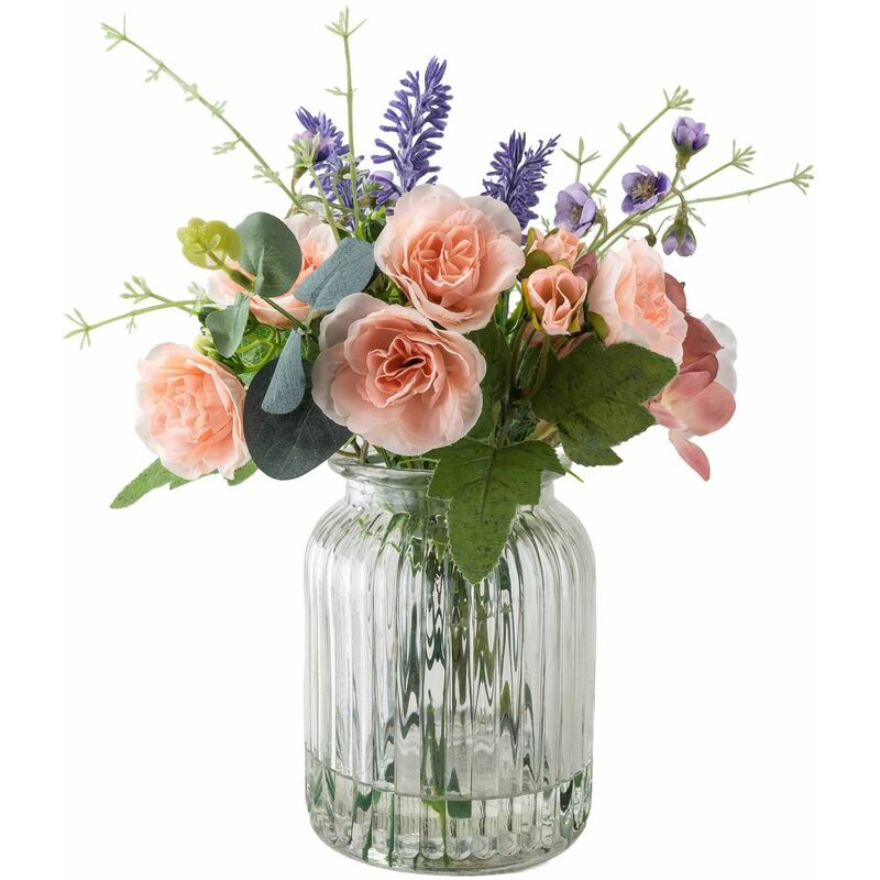 Image of Faux Floral Arrangement in Clear Textured Glass Vase
