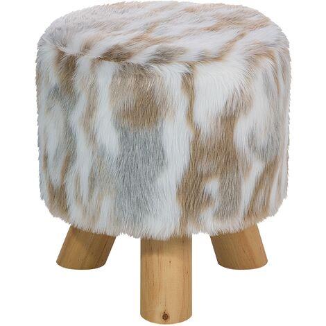 Faux Fur Footstool Beige TEXAS