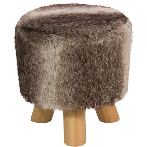 Faux Fur Footstool Brown and Beige TOPEKA