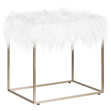 Faux Fur Footstool White MANHATTAN
