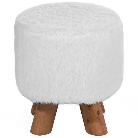 Faux Fur Stool White IOWA