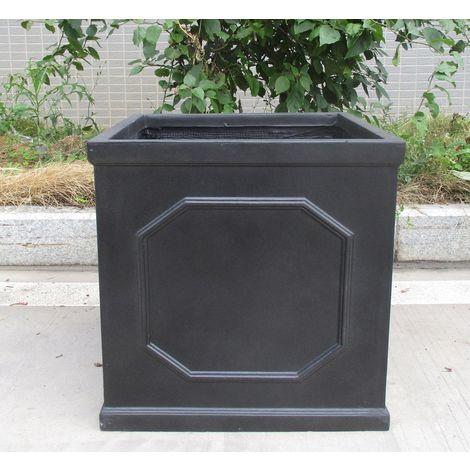Faux Lead Chelsea Box Square Dark Grey Light Stone Planter W55 H55 L55 cm