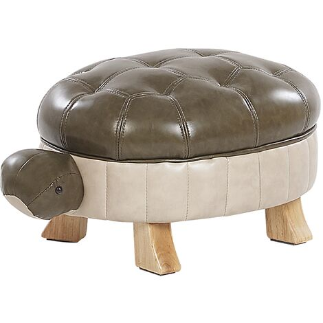 Faux Leather Animal Stool Green TURTLE