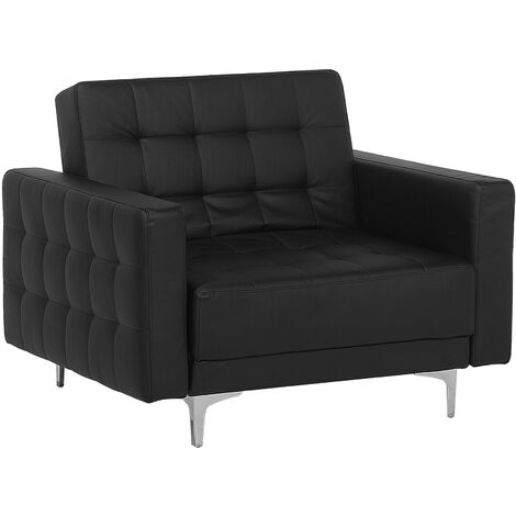 Faux Leather Armchair Black ABERDEEN