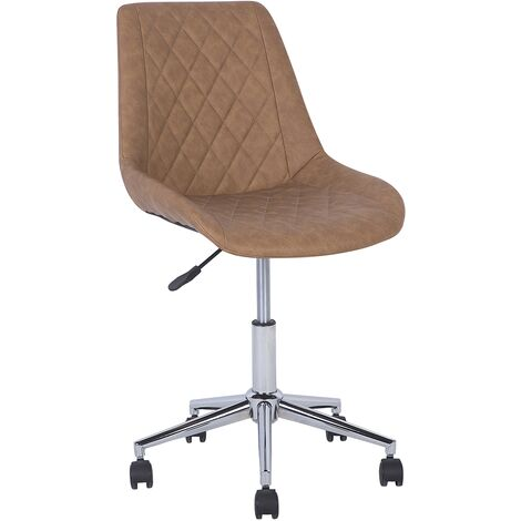 Faux Leather Armless Desk Chair Golden Brown MARIBEL