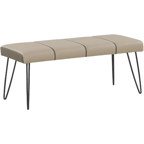 Faux Leather Bedroom Bench Beige BETIN