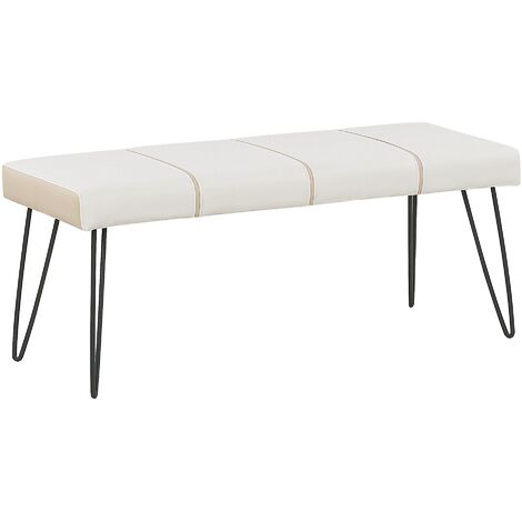 Faux Leather Bedroom Bench White BETIN