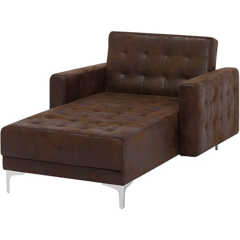 Faux Leather Chaise Longue Brown ABERDEEN