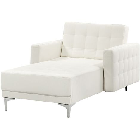 Faux Leather Chaise Longue White ABERDEEN