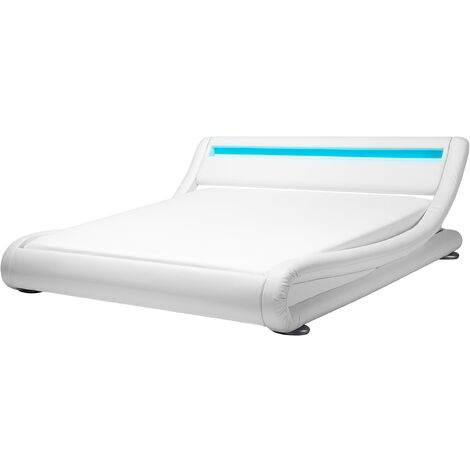Faux Leather EU Super King Bed with LED White AVIGNON