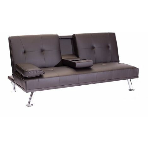 Faux Leather Folding Sofa Bed With Cup Holders Cinema Style - Brown