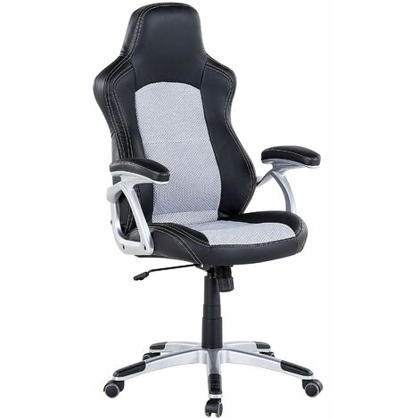 Faux Leather Office Chair Grey Black EXPLORER